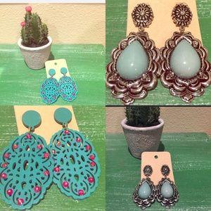 Turquoise 2 pair earrings Western rhinestone